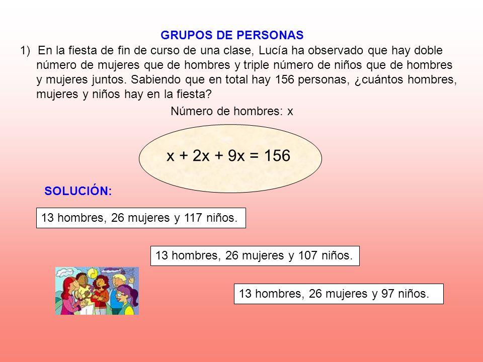 GRUPOS DE PERSONAS Número de hombres: x 1)En la fiesta de fin de curso de una clase, Lucía ha observado que hay doble número de mujeres que de hombres