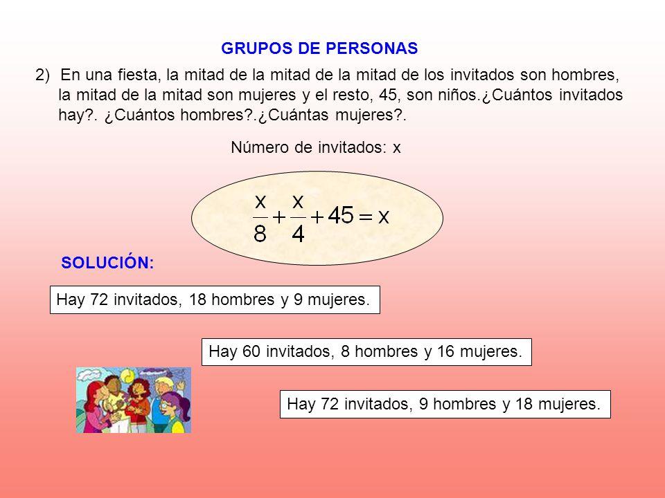 GRUPOS DE PERSONAS Número de invitados: x 2)En una fiesta, la mitad de la mitad de la mitad de los invitados son hombres, la mitad de la mitad son muj