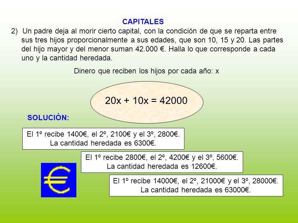 CAPITALES Dinero que reciben los hijos por cada año: x 2)Un padre deja al morir cierto capital, con la condición de que se reparta entre sus tres hijo