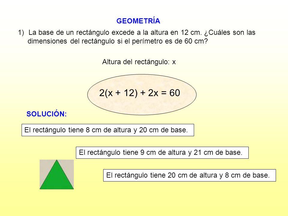 GEOMETRÍA Altura del rectángulo: x 1)La base de un rectángulo excede a la altura en 12 cm. ¿Cuáles son las dimensiones del rectángulo si el perímetro