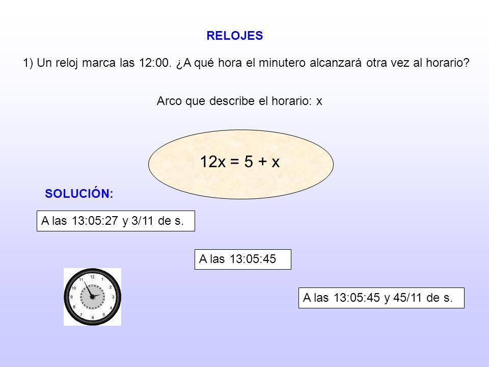 RELOJES 1) Un reloj marca las 12:00. ¿A qué hora el minutero alcanzará otra vez al horario? Arco que describe el horario: x 12x = 10 + x 12x = 15 + x