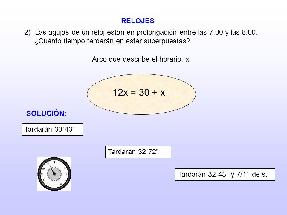 RELOJES 2)Las agujas de un reloj están en prolongación entre las 7:00 y las 8:00. ¿Cuánto tiempo tardarán en estar superpuestas? Arco que describe el