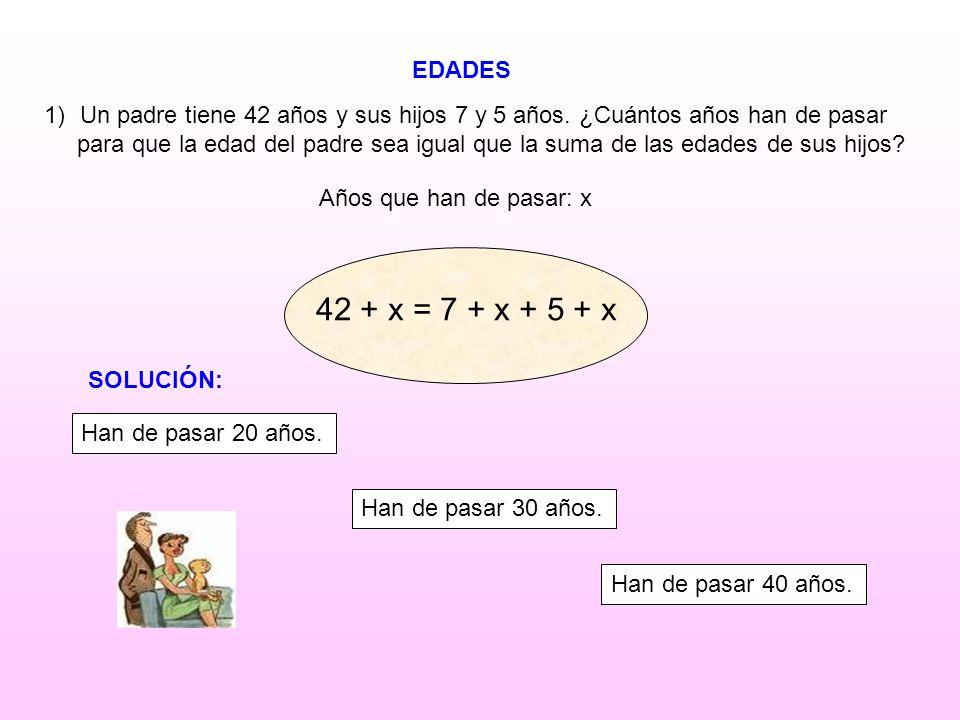 EDADES Años que han de pasar: x 1)Un padre tiene 42 años y sus hijos 7 y 5 años. ¿Cuántos años han de pasar para que la edad del padre sea igual que l