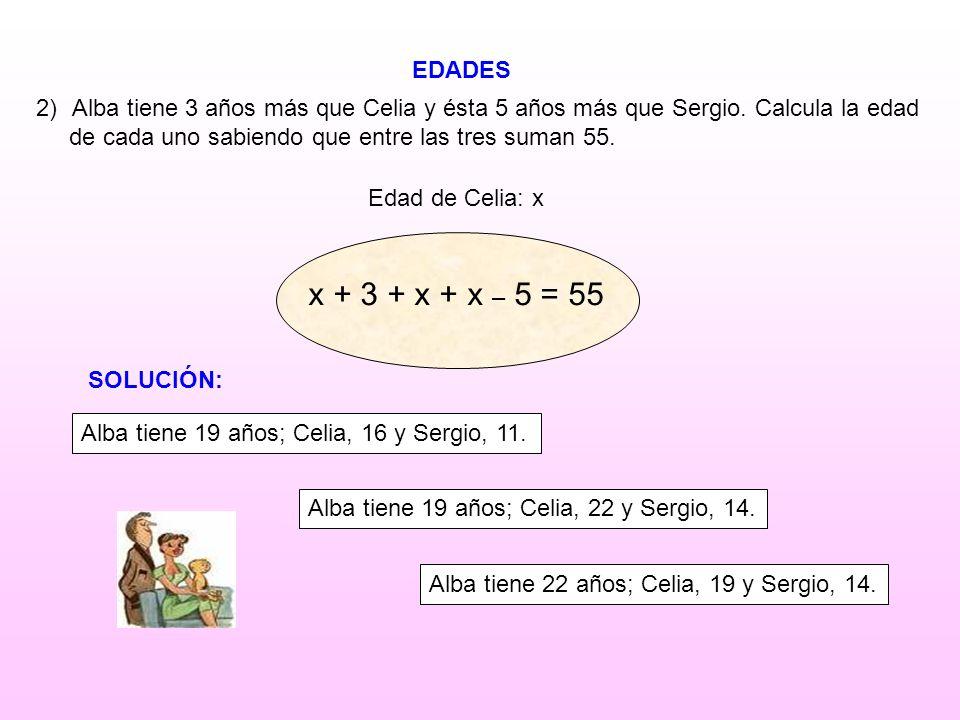 EDADES Edad de Celia: x 2)Alba tiene 3 años más que Celia y ésta 5 años más que Sergio. Calcula la edad de cada uno sabiendo que entre las tres suman