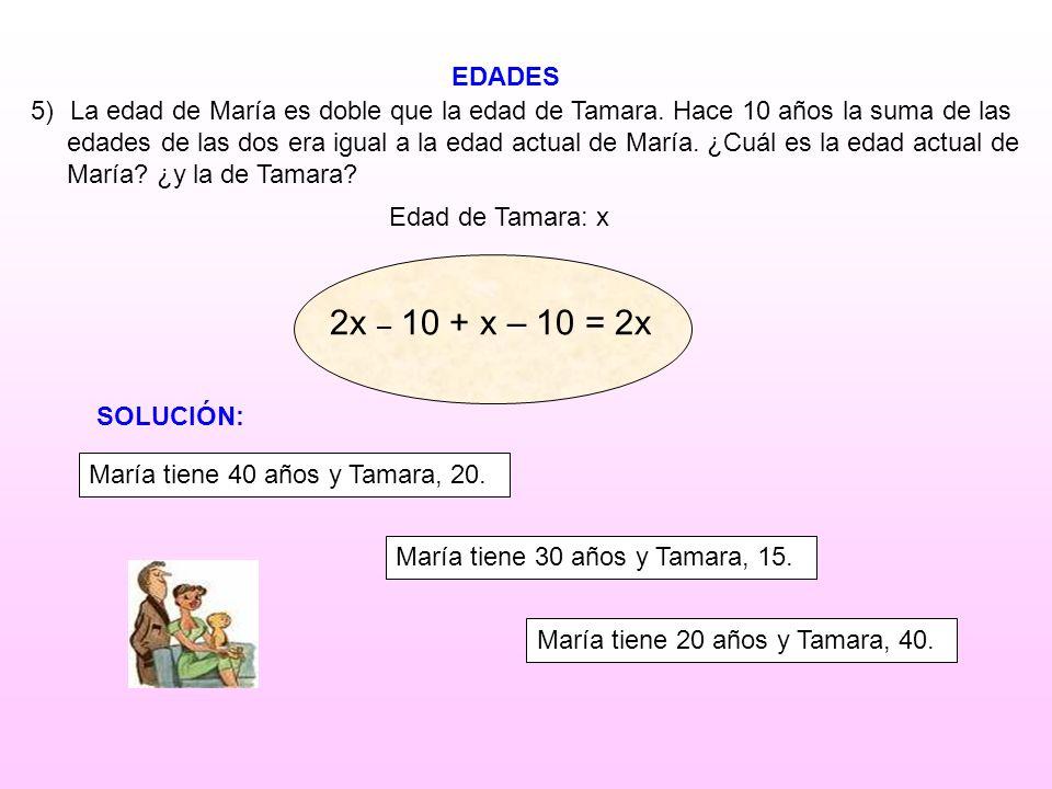 EDADES Edad de Tamara: x 5)La edad de María es doble que la edad de Tamara. Hace 10 años la suma de las edades de las dos era igual a la edad actual d