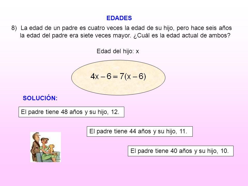 EDADES Edad del hijo: x 8)La edad de un padre es cuatro veces la edad de su hijo, pero hace seis años la edad del padre era siete veces mayor. ¿Cuál e
