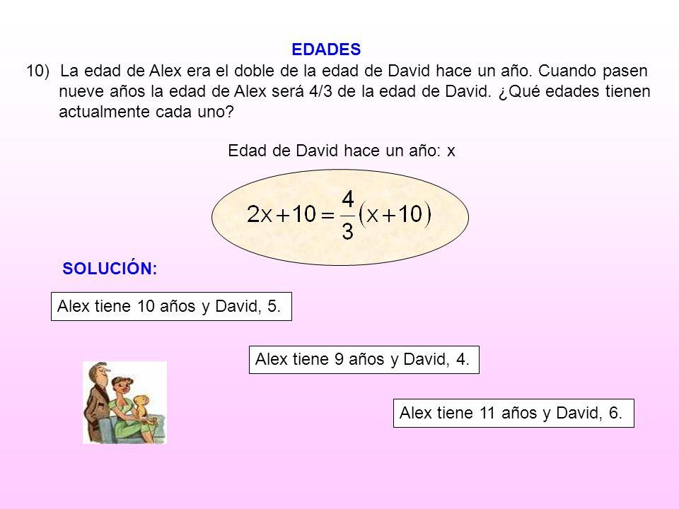 EDADES Edad de David hace un año: x 10) La edad de Alex era el doble de la edad de David hace un año. Cuando pasen nueve años la edad de Alex será 4/3