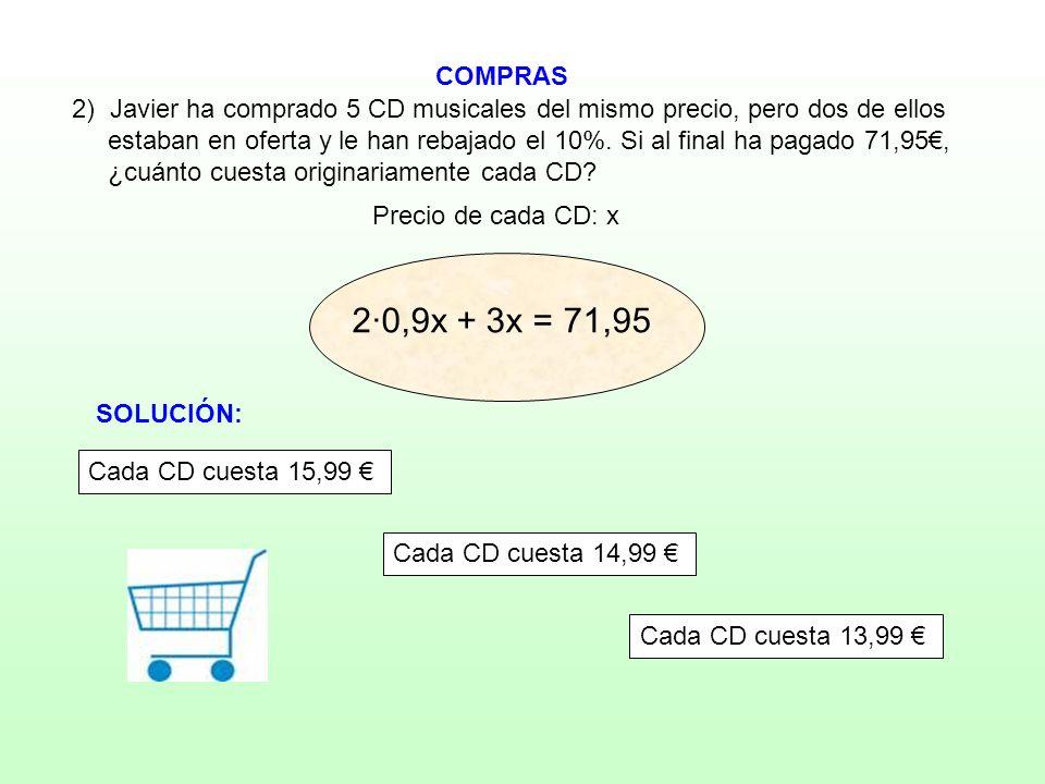 COMPRAS Precio de cada CD: x 2) Javier ha comprado 5 CD musicales del mismo precio, pero dos de ellos estaban en oferta y le han rebajado el 10%. Si a