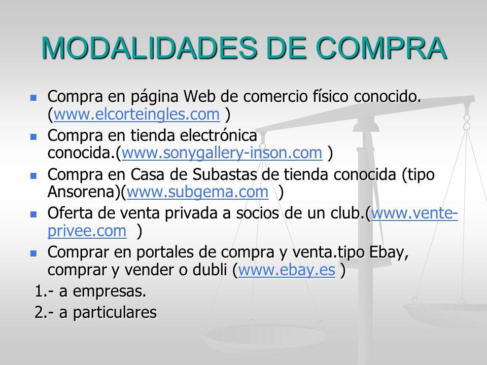 MODALIDADES DE COMPRA Compra en página Web de comercio físico conocido. (www.elcorteingles.com ) Compra en página Web de comercio físico conocido. (ww