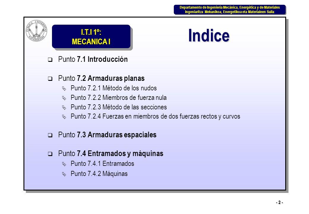 I.T.I 1º: MECANICA I Departamento de Ingeniería Mecánica, Energética y de Materiales Ingeniaritza Mekanikoa, Energetikoa eta Materialeen Saila Departamento de Ingeniería Mecánica, Energética y de Materiales Ingeniaritza Mekanikoa, Energetikoa eta Materialeen Saila - 3 - La determinación de las reacciones en los apoyos vista en el tema anterior sólo es el primer paso del análisis de las estructuras y máquinas.