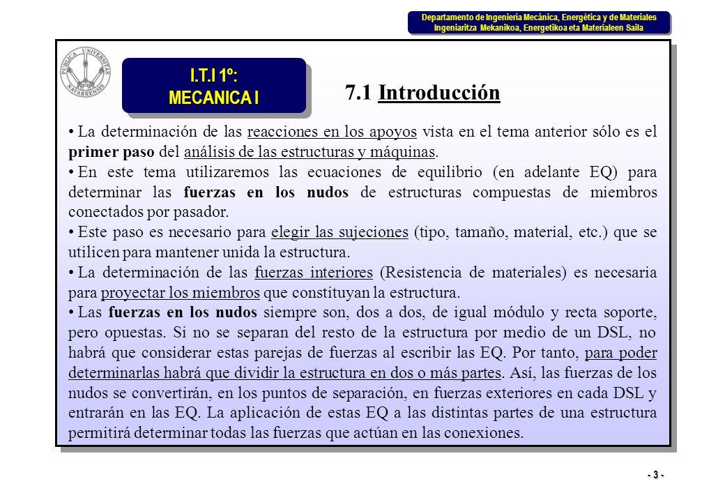 I.T.I 1º: MECANICA I Departamento de Ingeniería Mecánica, Energética y de Materiales Ingeniaritza Mekanikoa, Energetikoa eta Materialeen Saila Departamento de Ingeniería Mecánica, Energética y de Materiales Ingeniaritza Mekanikoa, Energetikoa eta Materialeen Saila - 34 - PROBLEMA 7.7 Utilizar el método de las secciones para hallar las fuerzas en los miembros CD y FG de la armadura de la figura.