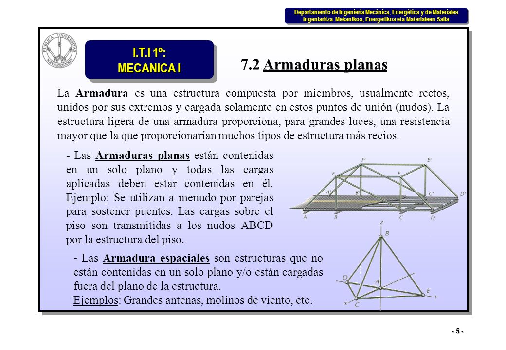 I.T.I 1º: MECANICA I Departamento de Ingeniería Mecánica, Energética y de Materiales Ingeniaritza Mekanikoa, Energetikoa eta Materialeen Saila Departamento de Ingeniería Mecánica, Energética y de Materiales Ingeniaritza Mekanikoa, Energetikoa eta Materialeen Saila - 26 - 2º Cuando tres miembros forman un nudo en el cual dos de los miembros sean colineales y el tercero forme ángulo con ellos, el miembro no colineal lo será de fuerza nula si al nudo no hay aplicada fuerza exterior ni reacción de apoyo.