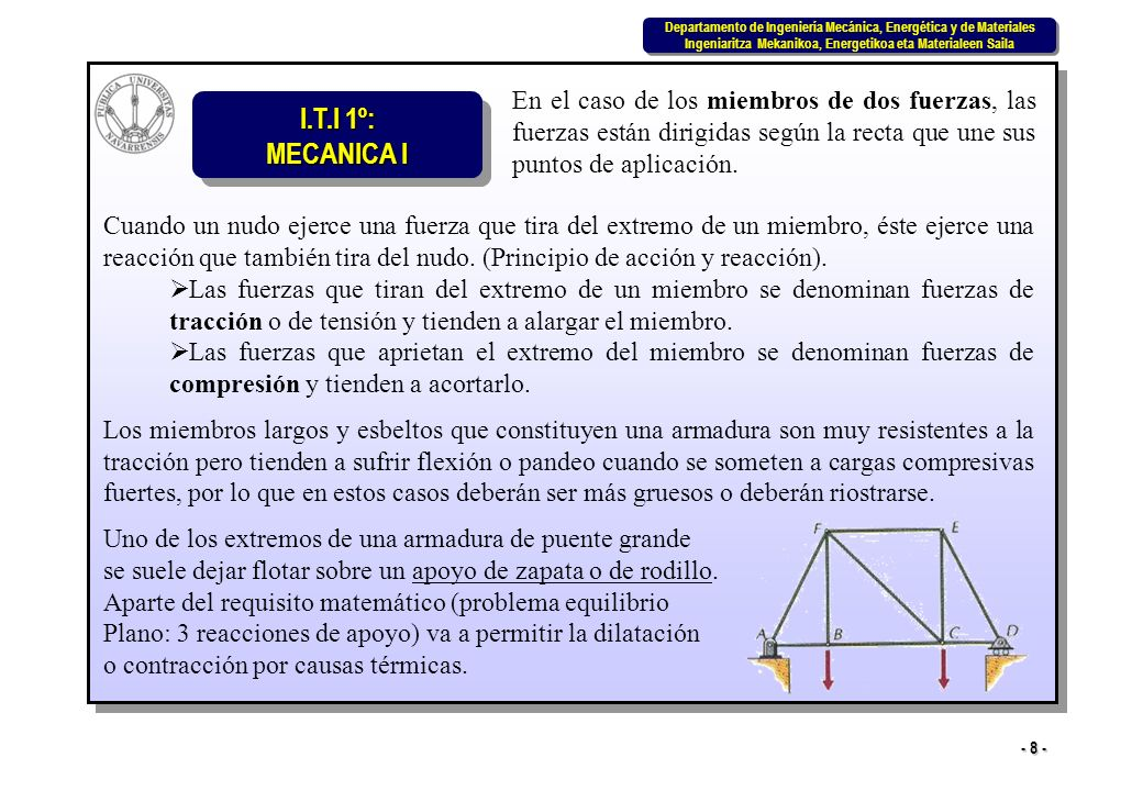 I.T.I 1º: MECANICA I Departamento de Ingeniería Mecánica, Energética y de Materiales Ingeniaritza Mekanikoa, Energetikoa eta Materialeen Saila Departamento de Ingeniería Mecánica, Energética y de Materiales Ingeniaritza Mekanikoa, Energetikoa eta Materialeen Saila - 39 - Considerando un corte transversal en la sección aa del miembro recto de la figura, sobre la superficie de corte habrá una distribución compleja de fuerzas que podría sustituirse por una fuerza y un par equivalentes.