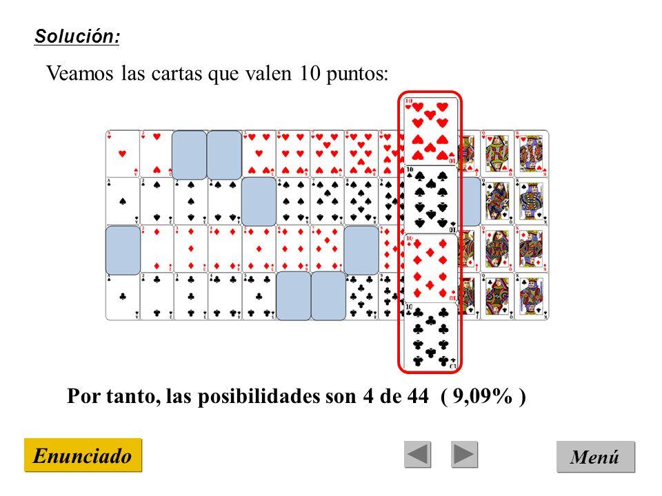Solución: Menú Enunciado Veamos las cartas que valen 10 puntos: Por tanto, las posibilidades son 4 de 44 ( 9,09% )