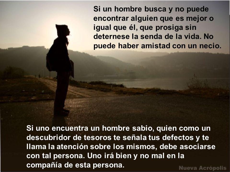 Si un hombre busca y no puede encontrar alguien que es mejor o igual que él, que prosiga sin deternese la senda de la vida.