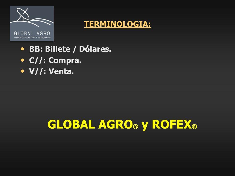 TERMINOLOGIA: BB: Billete / Dólares. C//: Compra. V//: Venta. GLOBAL AGRO ® y ROFEX ®