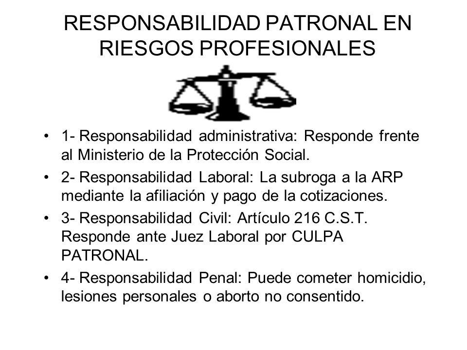 RESPONSABILIDAD PATRONAL EN RIESGOS PROFESIONALES 1- Responsabilidad administrativa: Responde frente al Ministerio de la Protección Social. 2- Respons