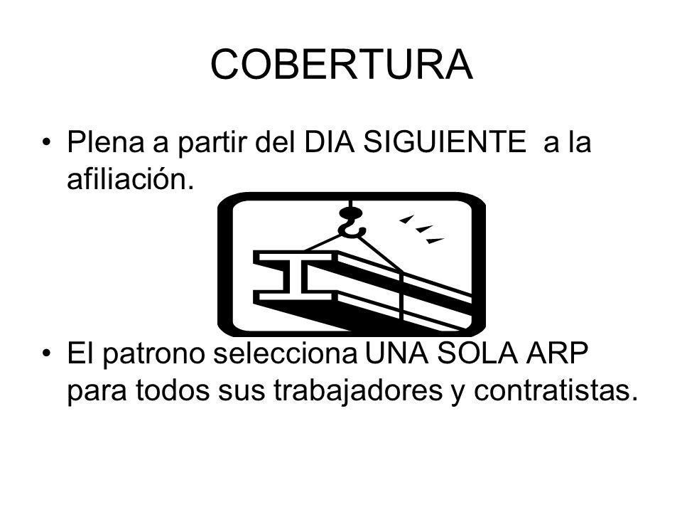 COBERTURA Plena a partir del DIA SIGUIENTE a la afiliación. El patrono selecciona UNA SOLA ARP para todos sus trabajadores y contratistas.
