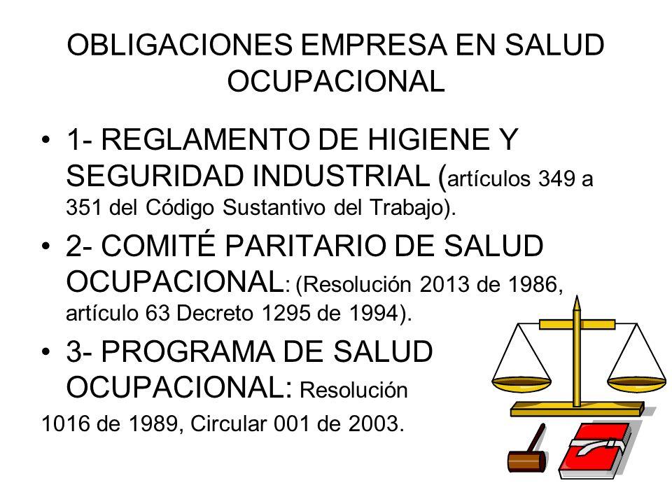 OBLIGACIONES EMPRESA EN SALUD OCUPACIONAL 1- REGLAMENTO DE HIGIENE Y SEGURIDAD INDUSTRIAL ( artículos 349 a 351 del Código Sustantivo del Trabajo). 2-
