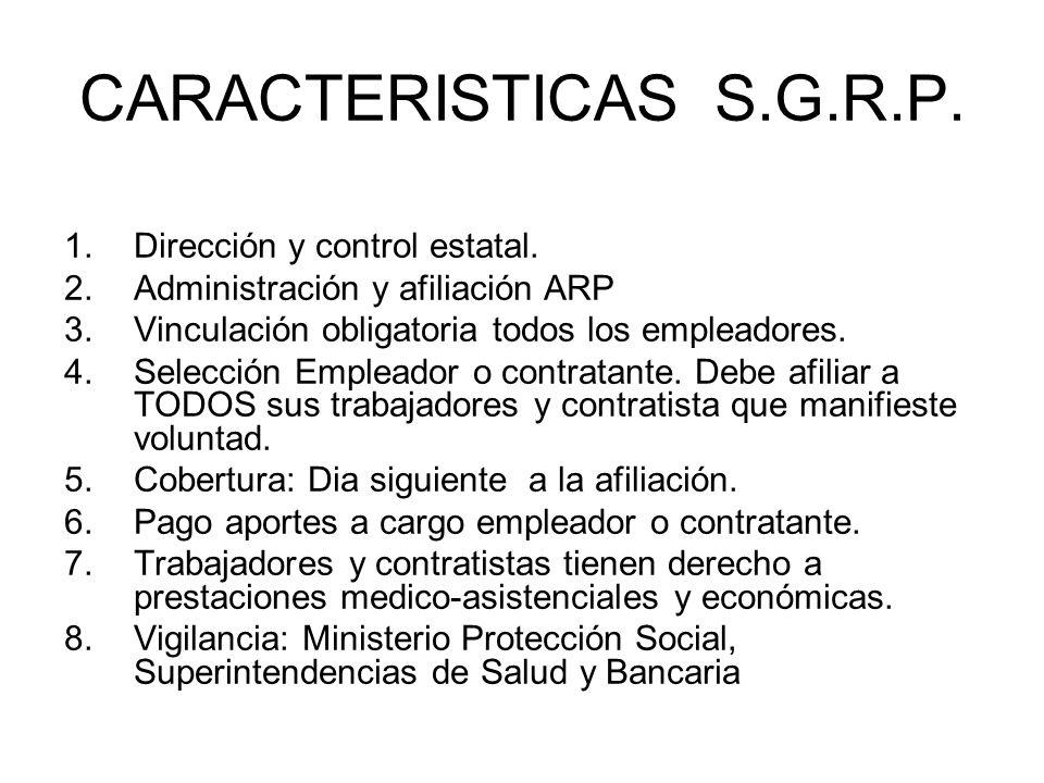 CARACTERISTICAS S.G.R.P. 1.Dirección y control estatal. 2.Administración y afiliación ARP 3.Vinculación obligatoria todos los empleadores. 4.Selección