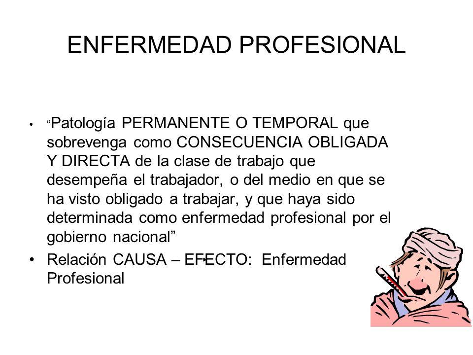 ENFERMEDAD PROFESIONAL Patología PERMANENTE O TEMPORAL que sobrevenga como CONSECUENCIA OBLIGADA Y DIRECTA de la clase de trabajo que desempeña el tra