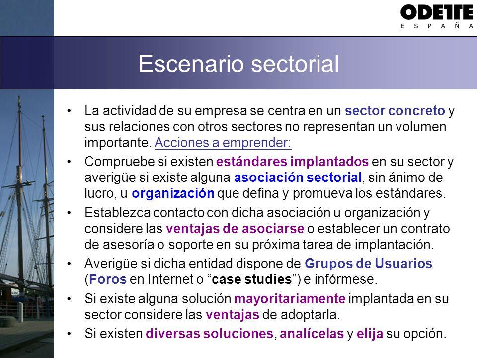 Escenario sectorial La actividad de su empresa se centra en un sector concreto y sus relaciones con otros sectores no representan un volumen importante.