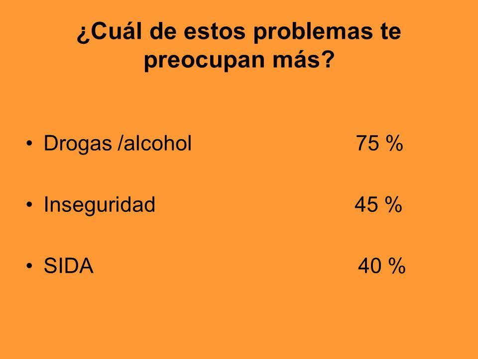 ¿Cuál de estos problemas te preocupan más? Drogas /alcohol 75 % Inseguridad 45 % SIDA 40 %