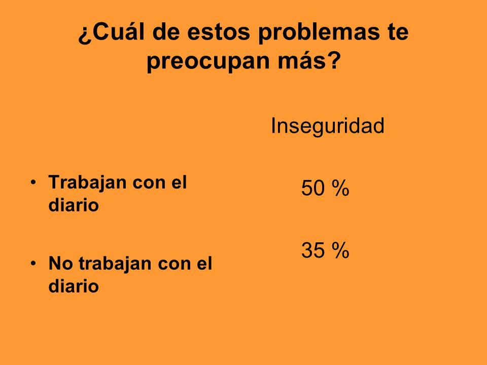 ¿Cuál de estos problemas te preocupan más? Trabajan con el diario No trabajan con el diario Inseguridad 50 % 35 %