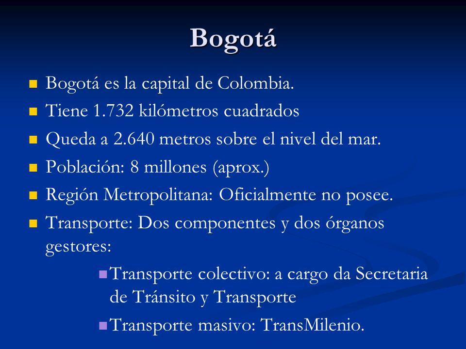 Bogotá Bogotá es la capital de Colombia. Tiene 1.732 kilómetros cuadrados Queda a 2.640 metros sobre el nivel del mar. Población: 8 millones (aprox.)