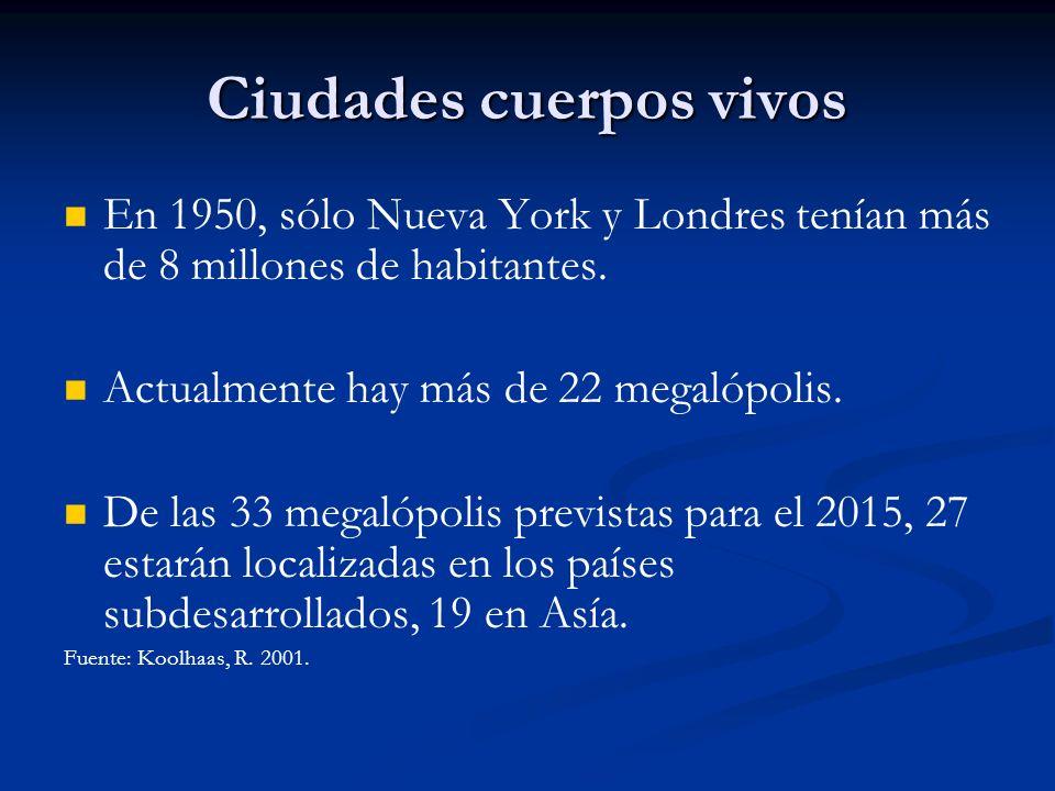 Ciudades cuerpos vivos En 1950, sólo Nueva York y Londres tenían más de 8 millones de habitantes. Actualmente hay más de 22 megalópolis. De las 33 meg