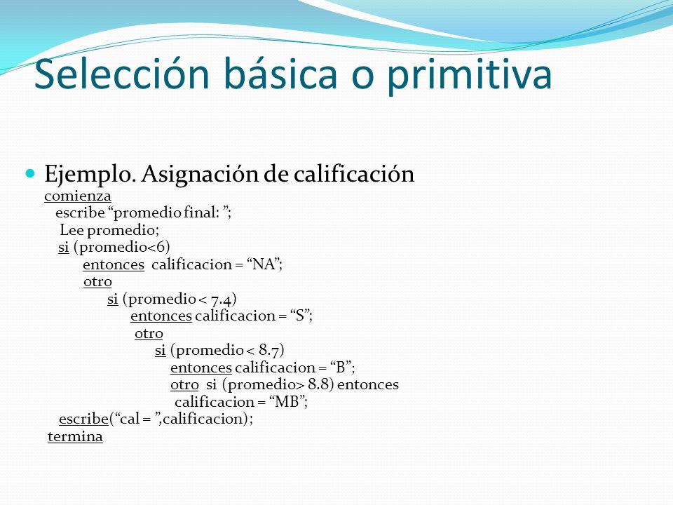 Selección básica o primitiva Selección múltiple Selección de varias posibilidades bajo diferentes condiciones si (condición1) entonces e1; otro si (condición2) entonces e2; otro si (condición3) entonces e3 ;