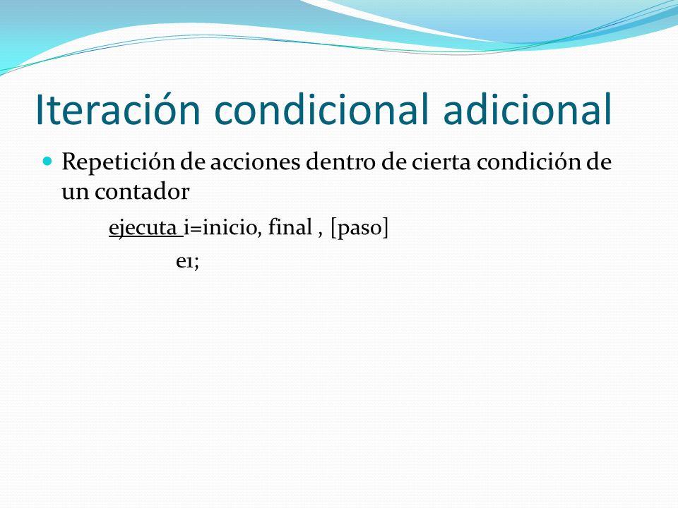 Iteración condicional adicional Ejemplo repite.