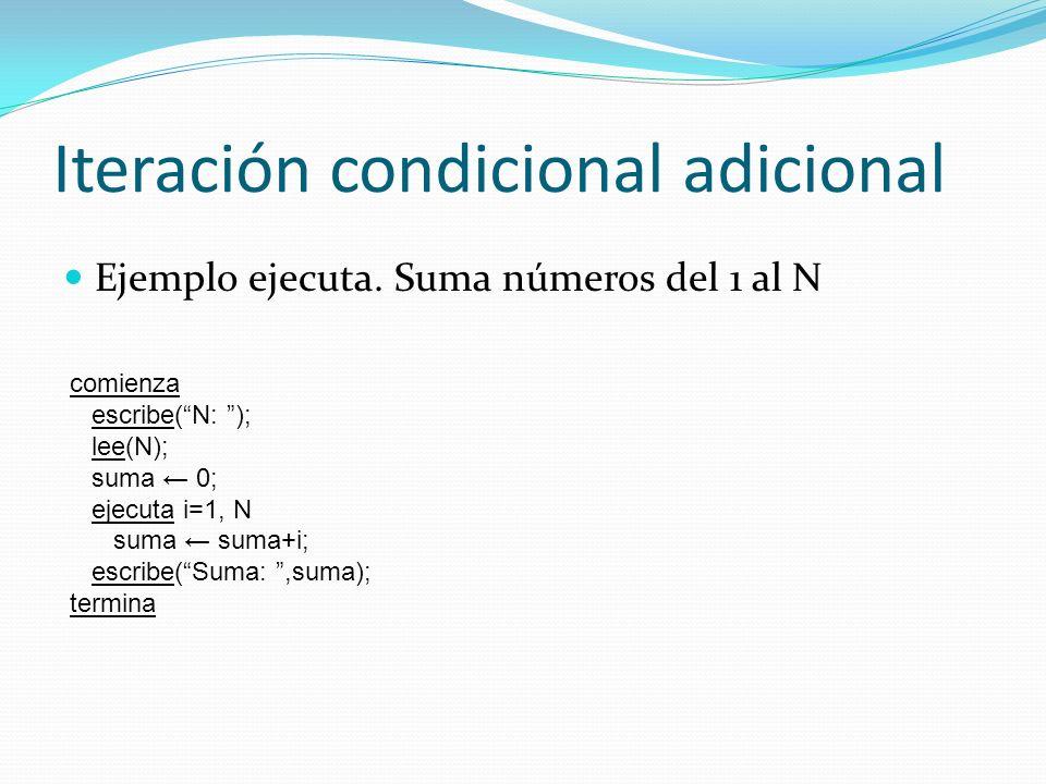 Iteración condicional adicional Repetición de acciones dentro de cierta condición de un contador ejecuta i=inicio, final, [paso] e1;