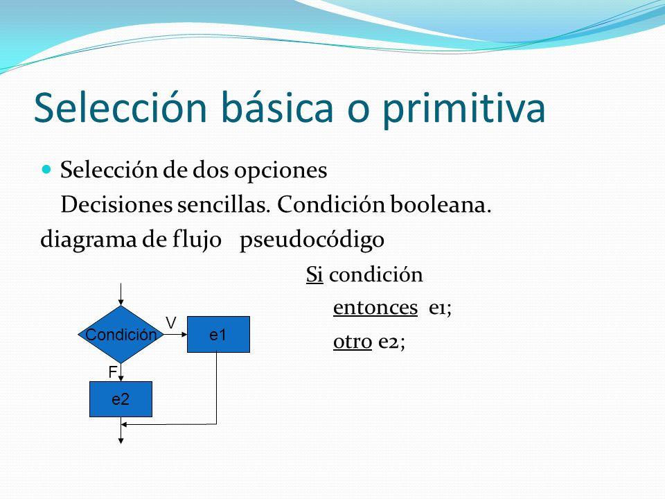 Selección básica o primitiva Selección de dos opciones Decisiones sencillas.