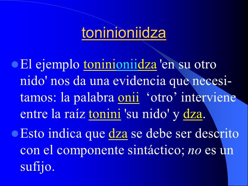 toninioniidza Elejemplo toninioniidza 'en su otro nido' nos da una evidencia que necesi- tamos: la palabra onii otro interviene entre la raíz tonini '