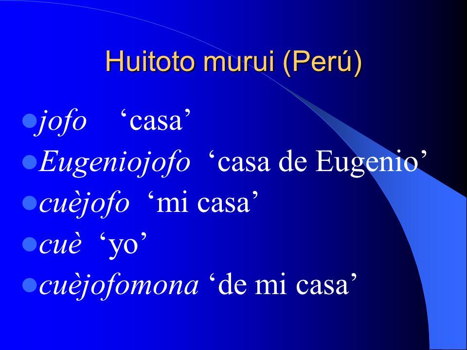 Huitoto murui (Perú) jofo casa Eugeniojofo casa de Eugenio cuèjofo mi casa cuè yo cuèjofomona de mi casa