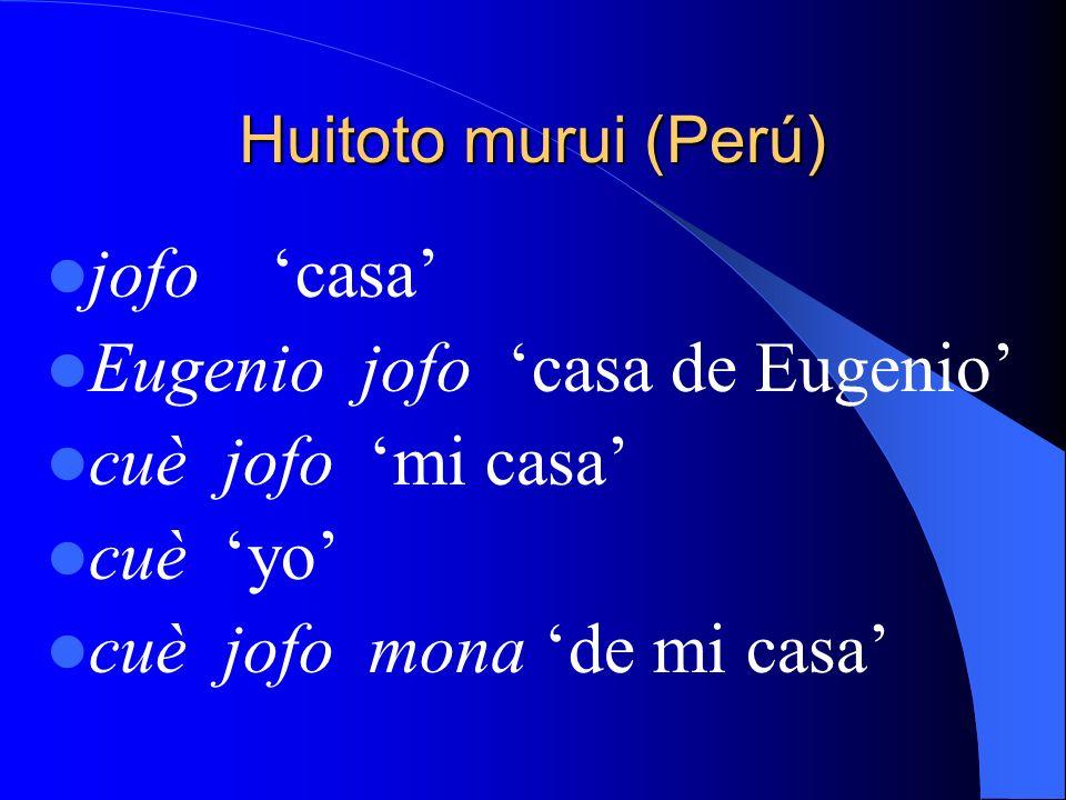 Huitoto murui (Perú) jofo casa Eugenio jofo casa de Eugenio cuè jofo mi casa cuè yo cuè jofo mona de mi casa