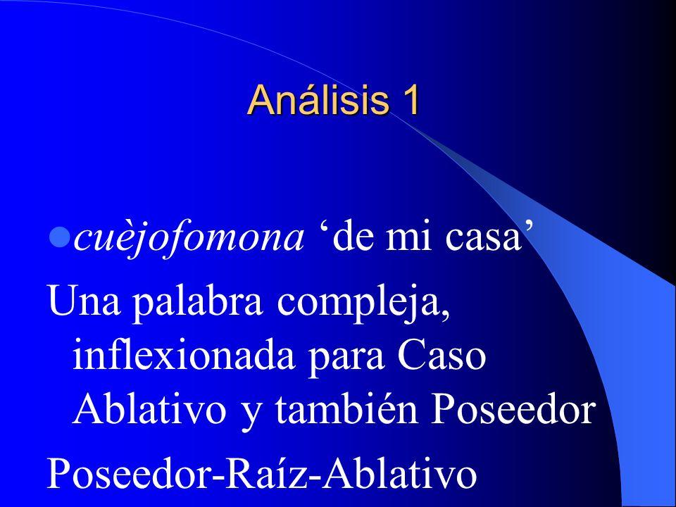 Análisis 1 cuèjofomona de mi casa Una palabra compleja, inflexionada para Caso Ablativo y también Poseedor Poseedor-Raíz-Ablativo