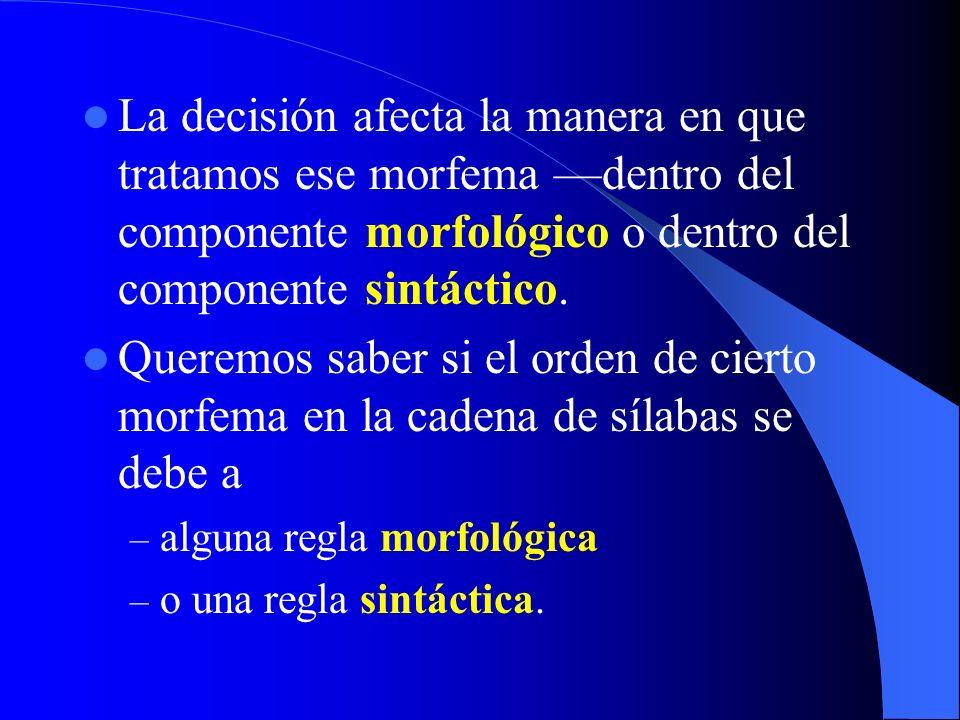 La decisión afecta la manera en que tratamos ese morfema dentro del componente morfológico o dentro del componente sintáctico. Queremos saber si el or