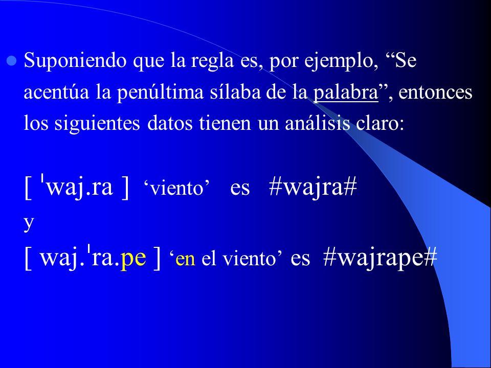 Suponiendo que la regla es, por ejemplo, Se acentúa la penúltima sílaba de la palabra, entonces los siguientes datos tienen un análisis claro: [ waj r