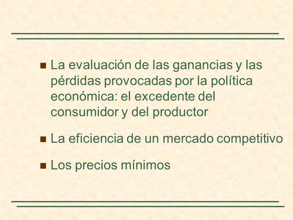 La evaluación de las ganancias y las pérdidas provocadas por la política económica: el excedente del consumidor y del productor La eficiencia de un me