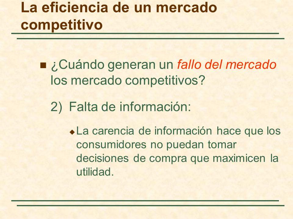 La eficiencia de un mercado competitivo ¿Cuándo generan un fallo del mercado los mercado competitivos? 2)Falta de información: La carencia de informac