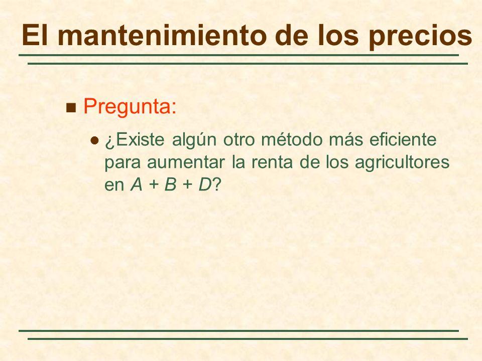 El mantenimiento de los precios Pregunta: ¿Existe algún otro método más eficiente para aumentar la renta de los agricultores en A + B + D?