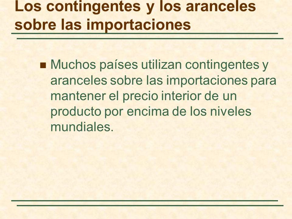 Los contingentes y los aranceles sobre las importaciones Muchos países utilizan contingentes y aranceles sobre las importaciones para mantener el prec