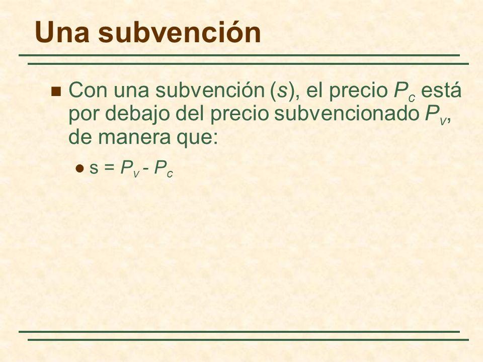 Una subvención Con una subvención (s), el precio P c está por debajo del precio subvencionado P v, de manera que: s = P v - P c