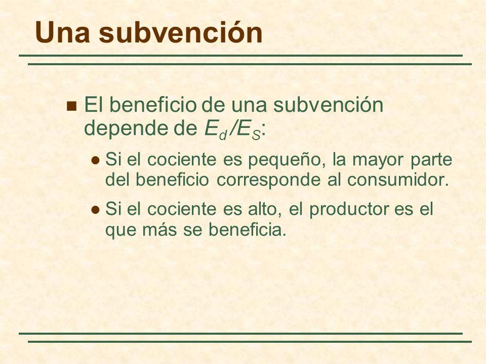 Una subvención El beneficio de una subvención depende de E d /E S : Si el cociente es pequeño, la mayor parte del beneficio corresponde al consumidor.