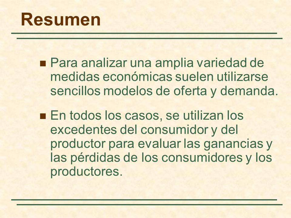 Resumen Para analizar una amplia variedad de medidas económicas suelen utilizarse sencillos modelos de oferta y demanda. En todos los casos, se utiliz