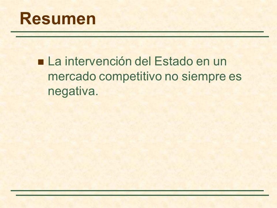 Resumen La intervención del Estado en un mercado competitivo no siempre es negativa.