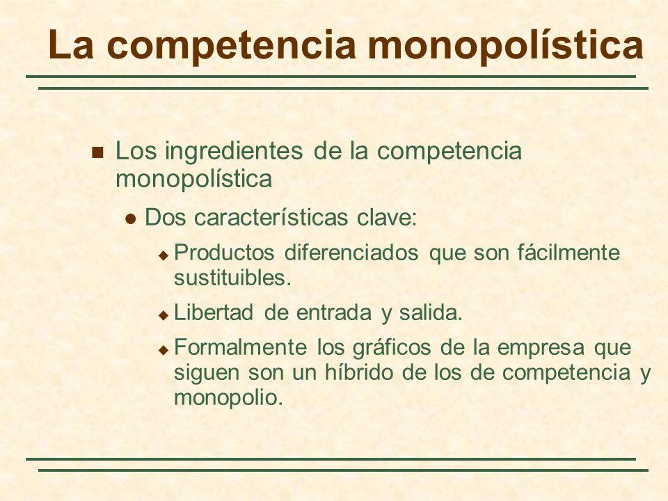 Los ingredientes de la competencia monopolística Dos características clave: Productos diferenciados que son fácilmente sustituibles. Libertad de entra