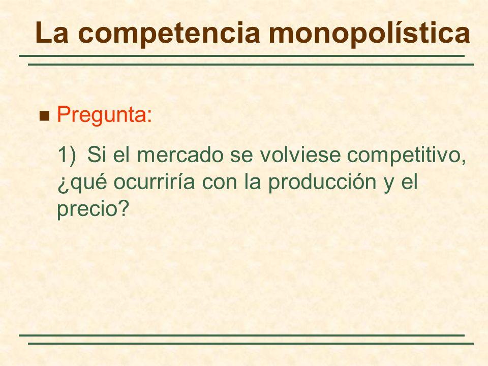 Pregunta: 1)Si el mercado se volviese competitivo, ¿qué ocurriría con la producción y el precio? La competencia monopolística